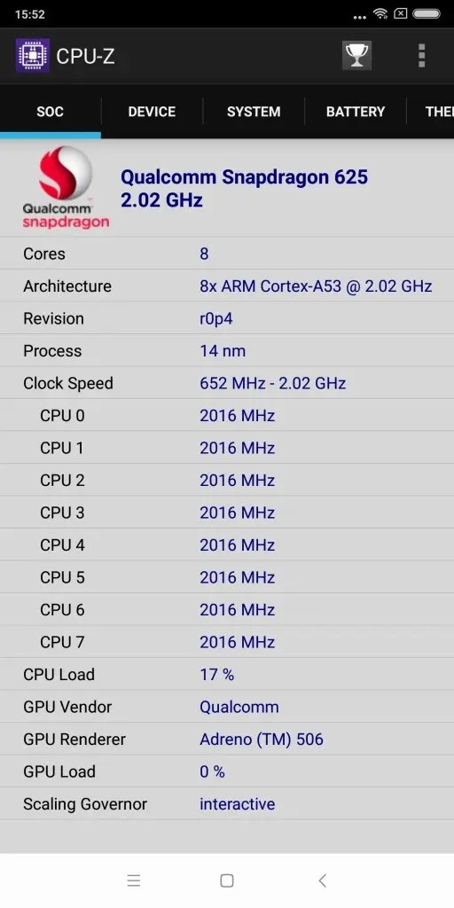 Xiaomi Redmi 5 Plus CPU-Z 3