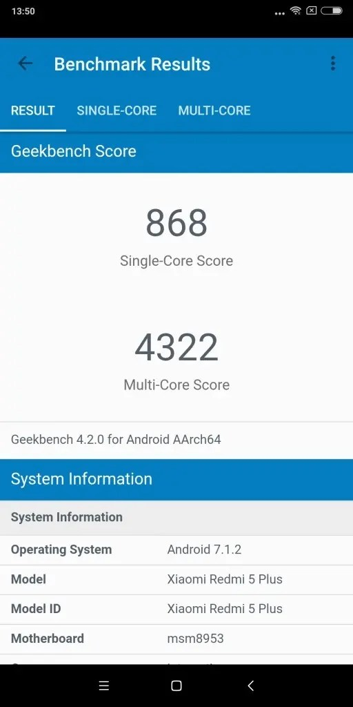 Xiaomi Redmi 5 Plus GeekBench868