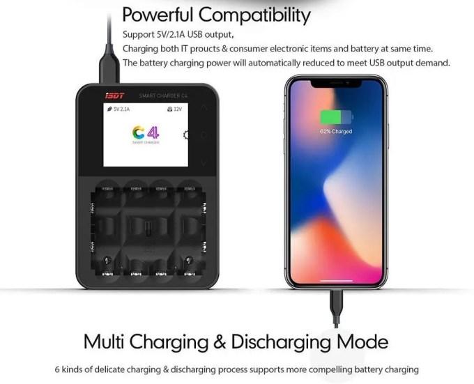 ISDT C4 8Aバッテリー充電器 スマホ