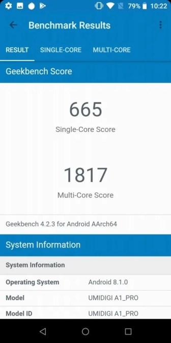 UMIDIGI A1 Pro Geekbench 665