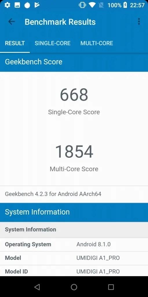 UMIDIGI A1 Pro Geekbench 668