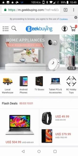 Geekbuyingのショッピングサイト
