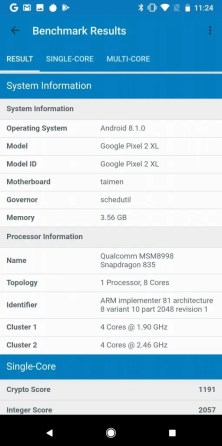 Pixel 2 XL Geekbench