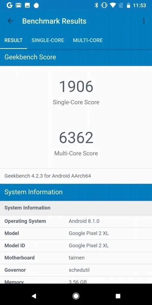 Pixel 2 XL Geekbench19.6