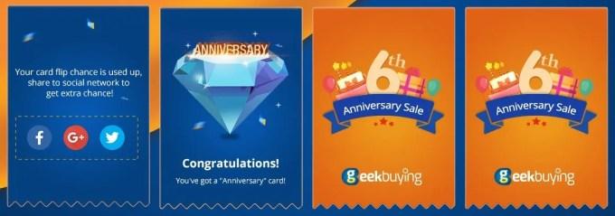 GeekBuying 6周年記念 1万ドル山分けキャンペーン カード