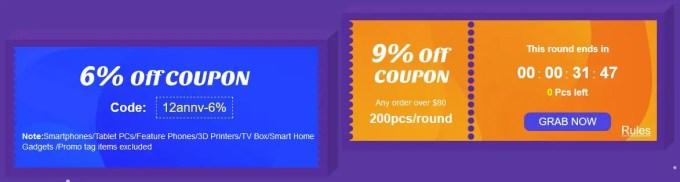 Banggood12周年キャンペーン 9%クーポン終わり