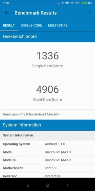 Xiaomi Mi Max 3 Geekbench
