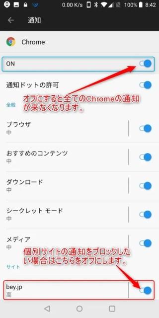 スマホ版Chromeの通知設定4