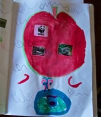 apple, butterfly, eye art