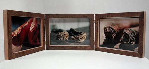 Carrot Triptych: 0 weeks, 6 weeks, 4 weeks, Bill Basquin, 2009, c-prints in frames built from reclaimed wood