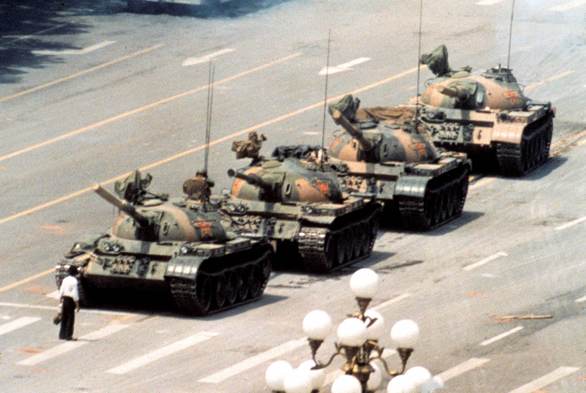 Tank Man - lone citizen vs. PLA tanks, Tiananmen Square, 1989, Jeff Widener