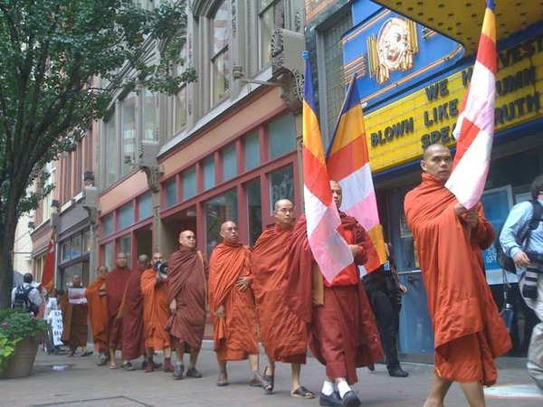 Those violent, anarchistic monks protesting, Pittsburgh, PA, Sept. 24, 2009