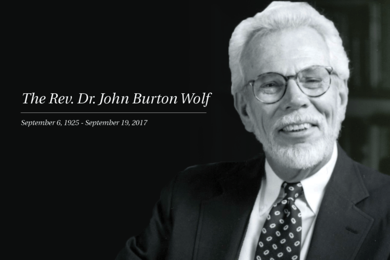 The Rev. Dr. John Burton Wolf | Transition in the life of All Souls Minister Emeritus