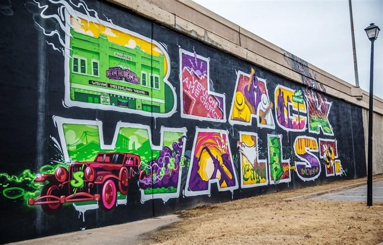 Black Wall Street Mural in Greenwood