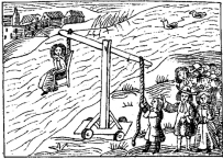 Woodcut of the witch-dunking method