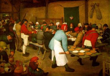 The Peasant Wedding (1567) by Bruegel shows a table of monochrome pottages - an ideal way to prepare food by Medieval standards