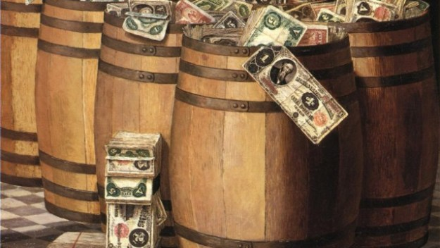 Victor_Dubreuil_-_Barrels_on_Money,_c._1897_oil_on_canvas_PD_wiki