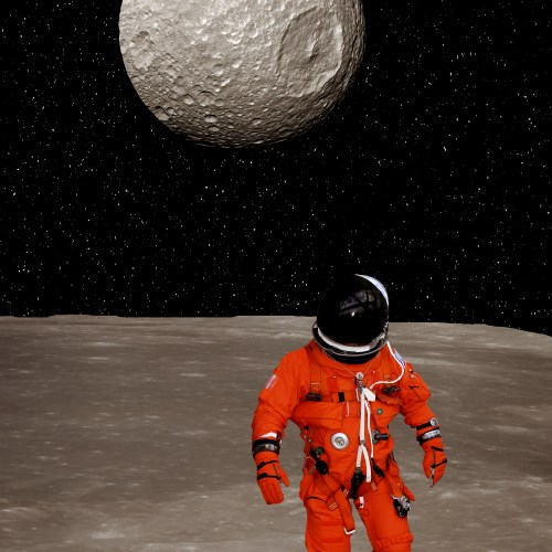 Astronaut makes steps on the alien planet ground. The elements of this image furnished by NASA.