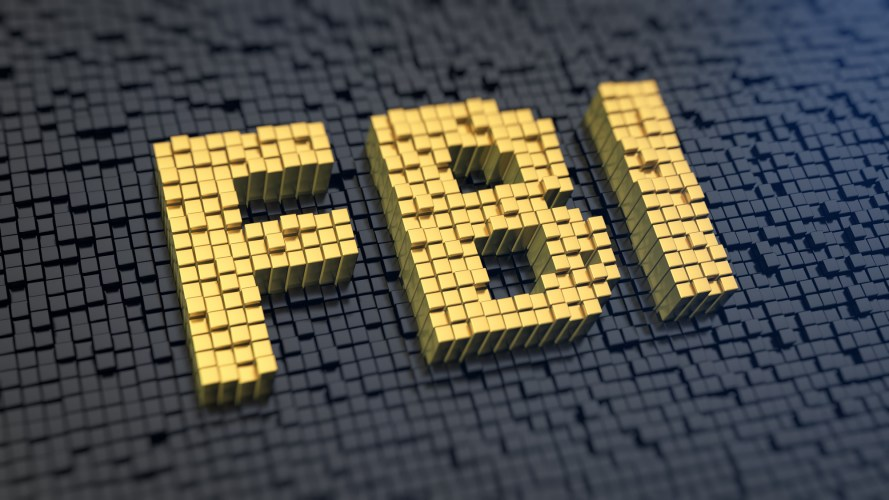 Acronym 'FBI' of the yellow square pixels on a black matrix background