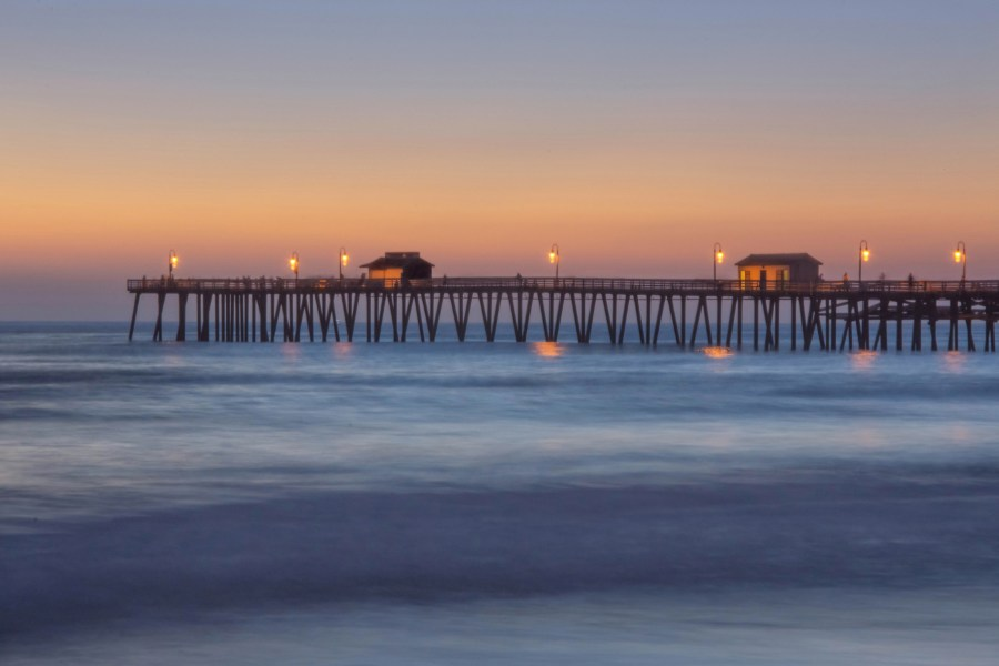 San Clemente pier with night lights reflecting on the water