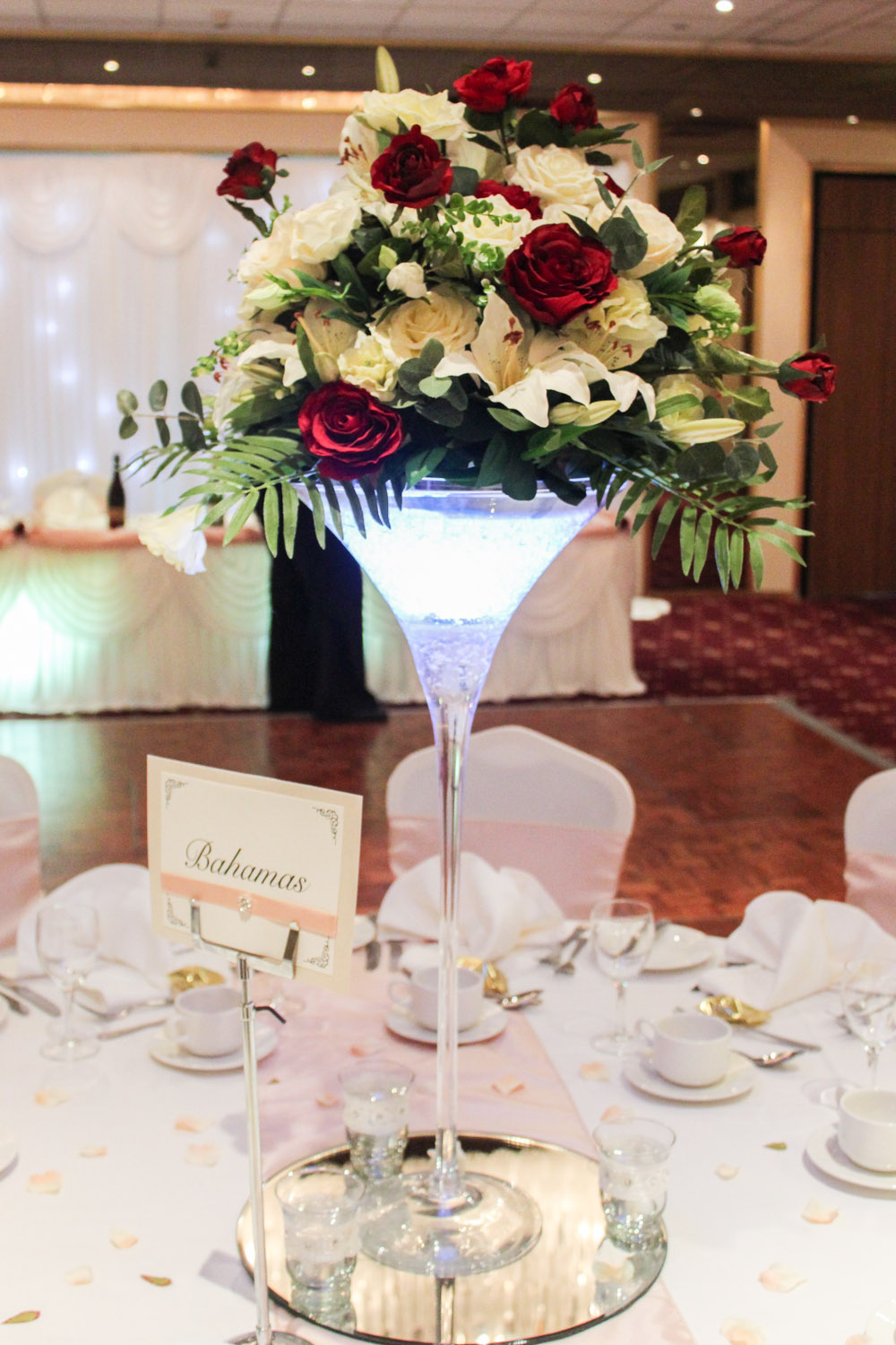 white wedding chair covers uk glider rocking canada martini vase arrangement - beyond expectations weddings & events