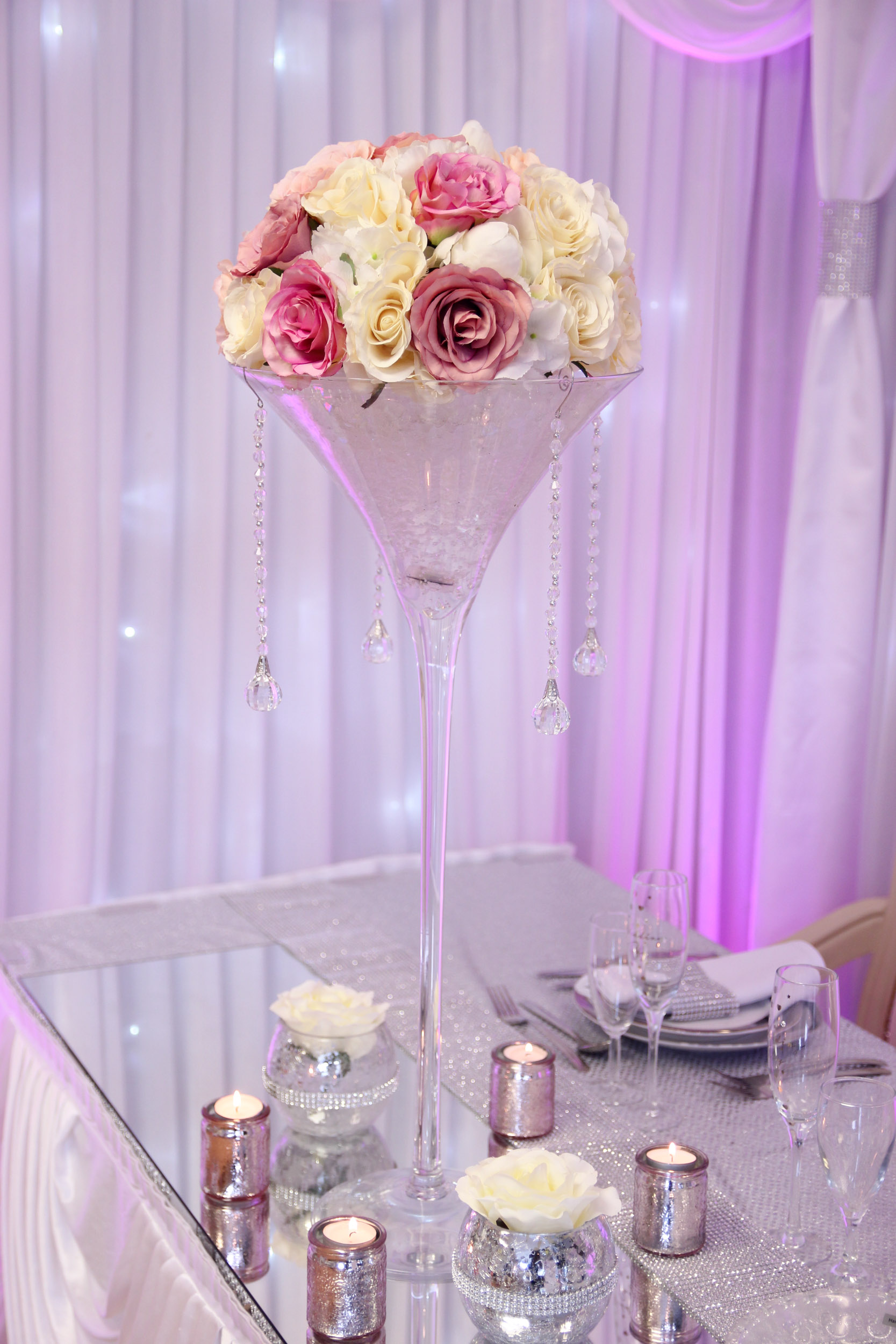Martini Vase With Rose Dome Beyond Expectations Weddings