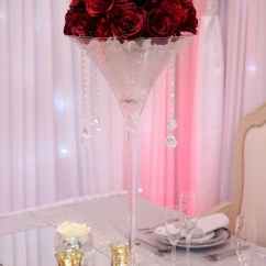 Hanging Chair Cover V Rocker Martini Vase With Rose Dome - Beyond Expectations Weddings & Events