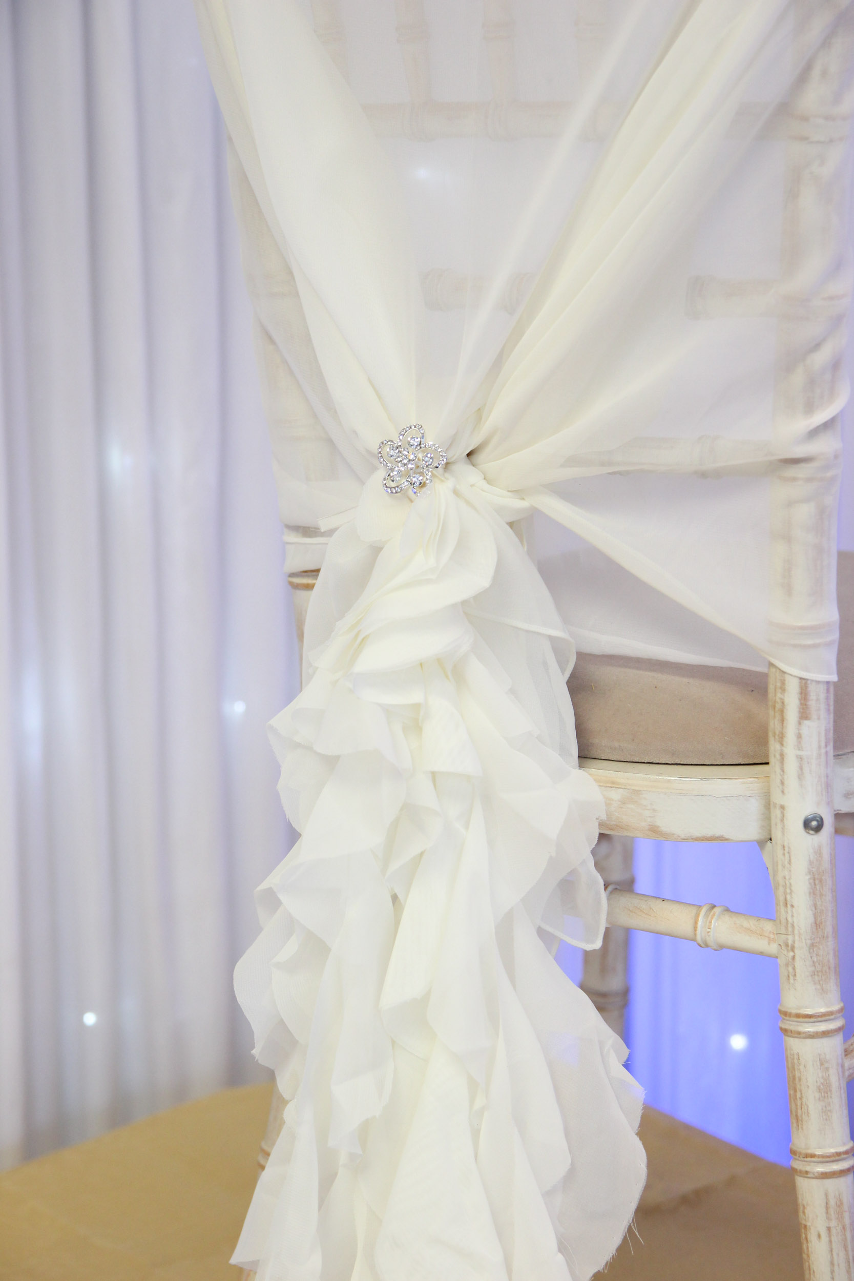 white wedding chair covers uk floating high chiffon hoods with a ruffle beyond expectations