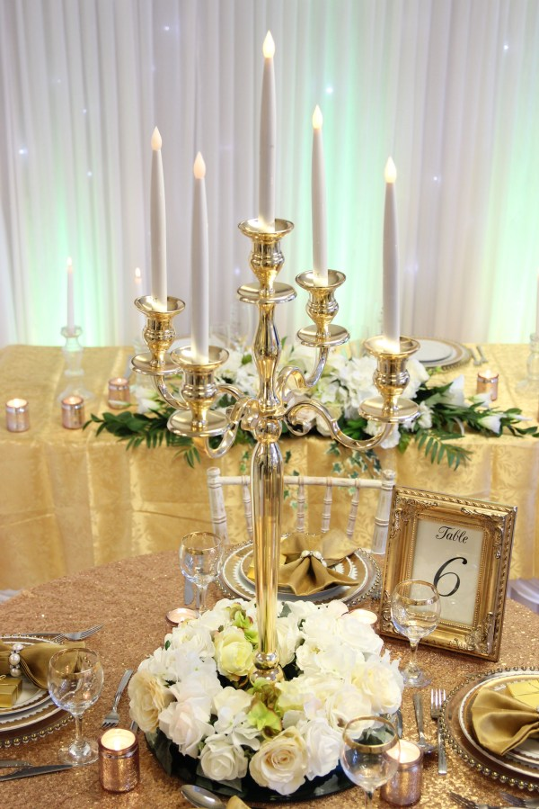 Gold Candelabra - Expectations Weddings & Events