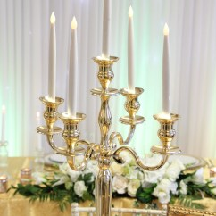 Used Wedding Chair Covers For Sale Uk Folding Parts Gold Candelabra - Beyond Expectations Weddings & Events