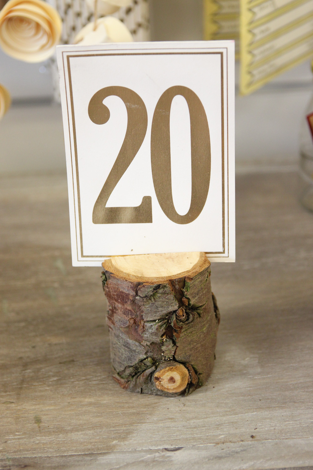 Wood Log Table Number Holders