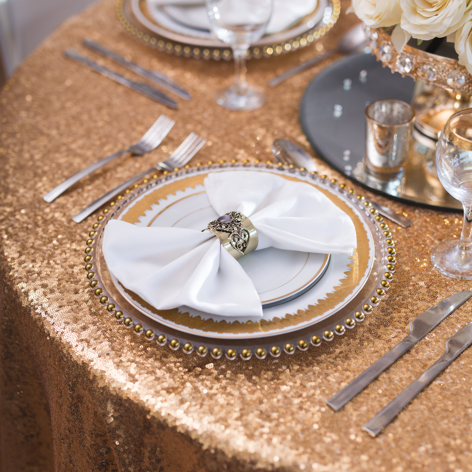 gold sequin chair covers neck and back massage table cloth beyond expectations weddings