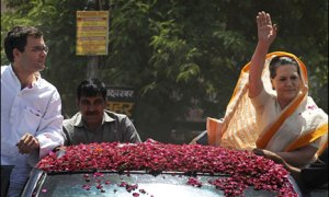 UPA Chairperson Sonia Gandhi with her son Rahul Gandhi during an election campaign (file photo)
