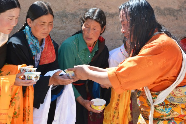 Tibetan ladies from our village, Ru-zhol-ma (Rixuma) welcome Lha-ba, Amyes-lhari.