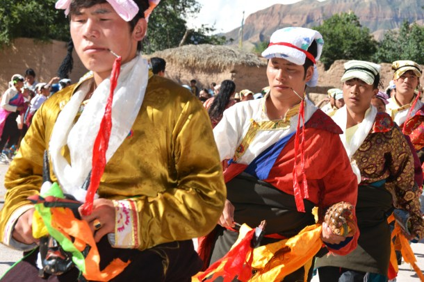 Tibetan festival, Tibetan young men, outer dancers, pierced through the cheek by the Lha-pa, Amyes-magpa.