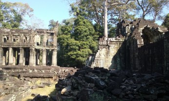 "17. Preah Khan – a temple that may have once been a Buddhist university. It has a unique two-story structure built on pillars that may have once held the sacred sword of Cambodia (""Preah Khan"")."