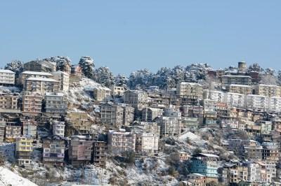 Even the concrete jungle of Shimla looks pretty under a coat of snow