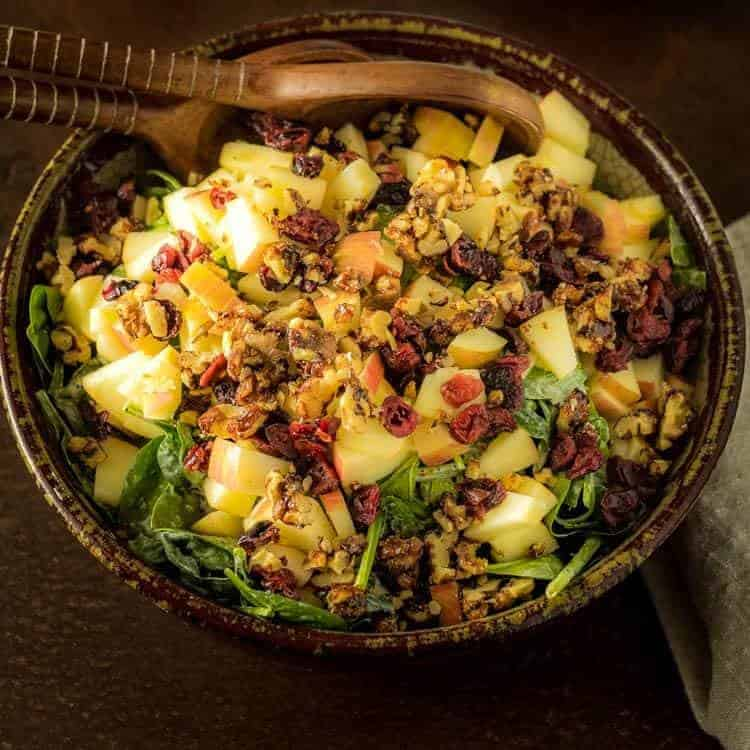 Spinach Salad With Apples  Vanilla Poppy Seed Dressing
