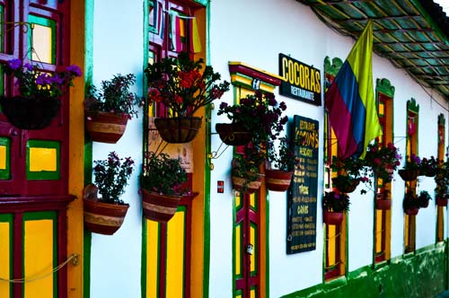 Salento town center and its beautiful, colorful houses