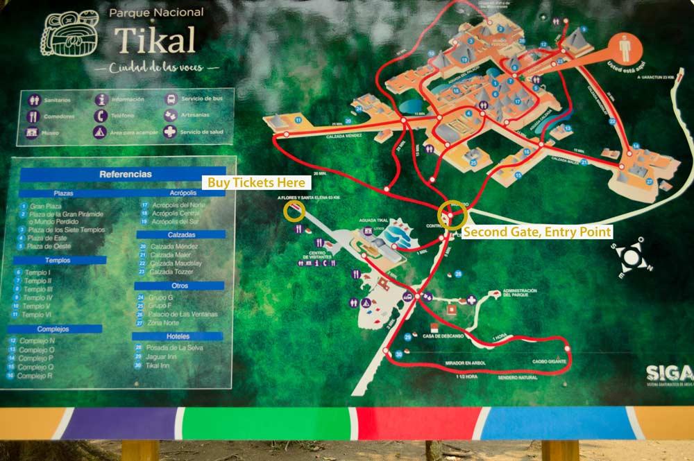 Tikal National Park map
