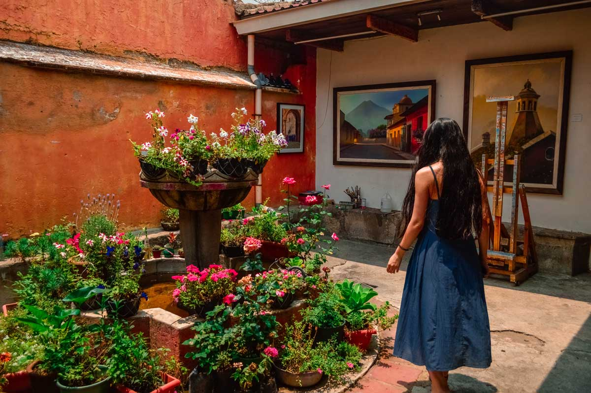a garden in Antigua, Guatemala with flowers