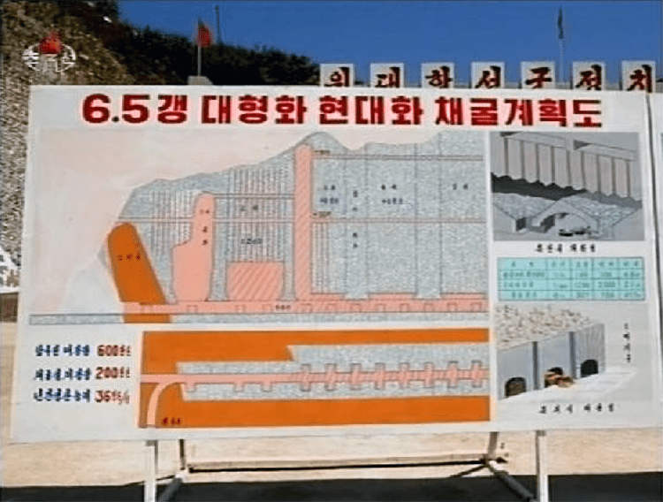Plans for June 5th Mine Pit (KCTV, 2009.05.21). Diagram of plans for enlarging, modernizing, and mining of the June 5th Mining Pit. Part of slogan that reads Hail to the Great Military-first Politics! is seen behind the chart that was used in briefings to Kim Jong-il.