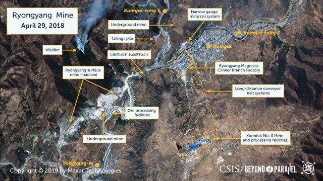 Overview of the Ryongyang Mine complex including Kumgol, April 29, 2018. (Copyright 2019 by Maxar Technologies)