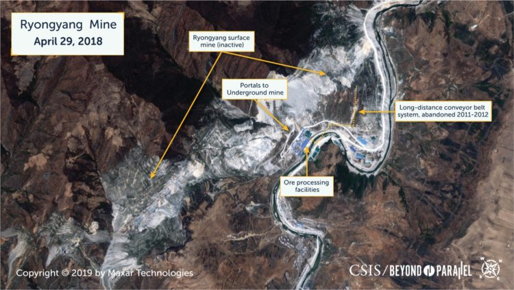 Overview of the main Ryongyang Mine, April 29, 2018. (Copyright 2019 by Maxar Technologies.)