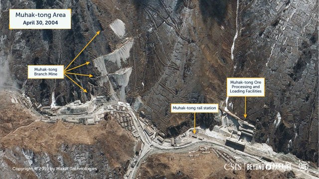 The Muhak-tong Area showing the Muhak-tong Branch Mine, Muhak-tong rail station, and Muhak-tong ore processing and loading facilities, April 30, 2004. (Copyright 2019 by Maxar Technologies)