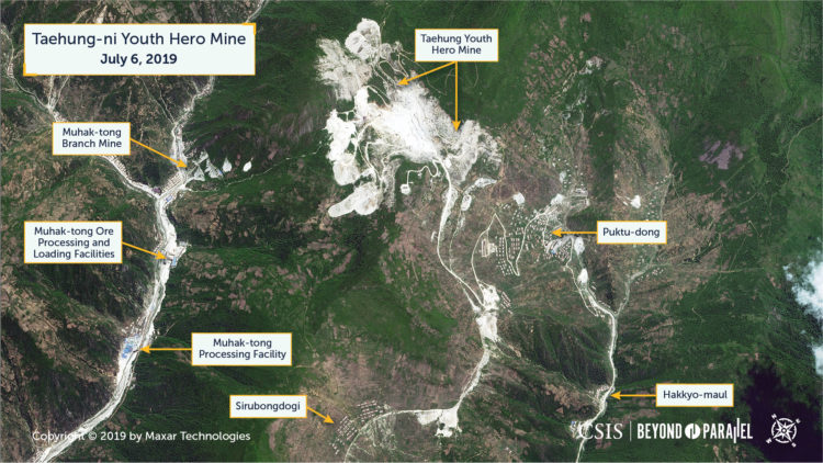 Overview image of the area containing the Taehung Youth Hero Mine, Mutak-dong Branch Mine, and the surrounding ore processing mining facilities, July 6, 2019. (Copyright 2019 by Maxar Technologies)