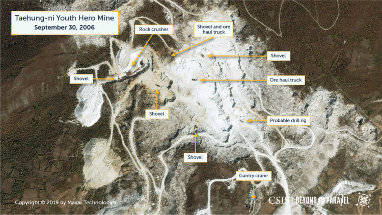 The Taehung Youth Hero Mine, September 30, 2006. (Copyright 2019 by Maxar Technologies)