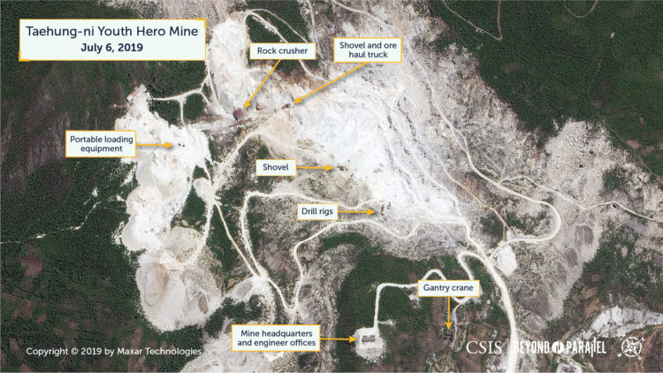The Taehung Youth Hero Mine, July 6, 2019. Note the expanded tailings piles and mine benches (roads in side of mine pit). (Copyright 2019 by Maxar Technologies)