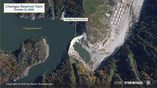 Changpo Reservoir Dam. Copyright 2020 by Maxar Technologies.