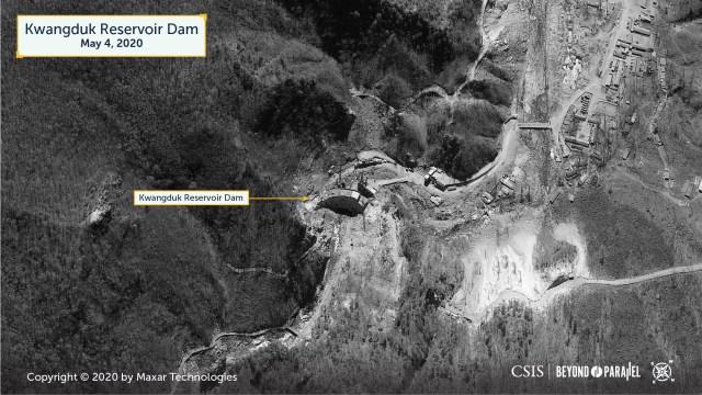 Kwangduk Reservoir Dam. Copyright 2020 by Maxar Technologies.